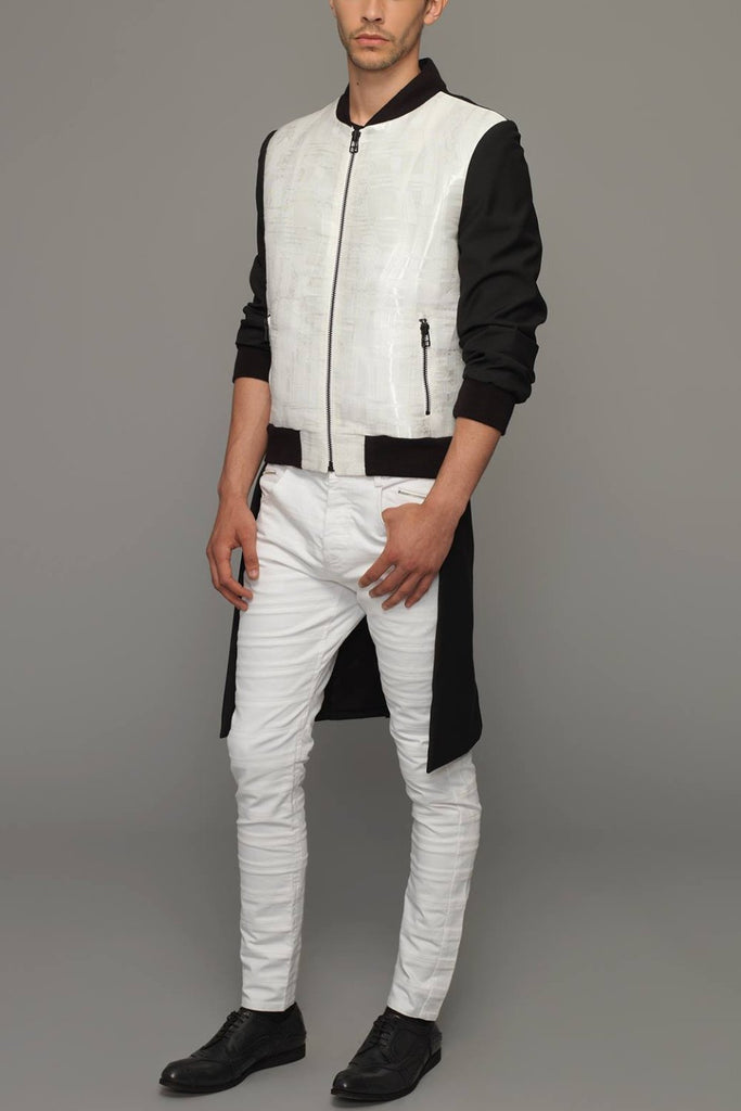 UNCONDITIONAL SS19 White light stretch skinny jeans cut in striped panels