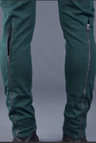 UNCONDITIONAL Emerald green back zip drop crotch jeans.