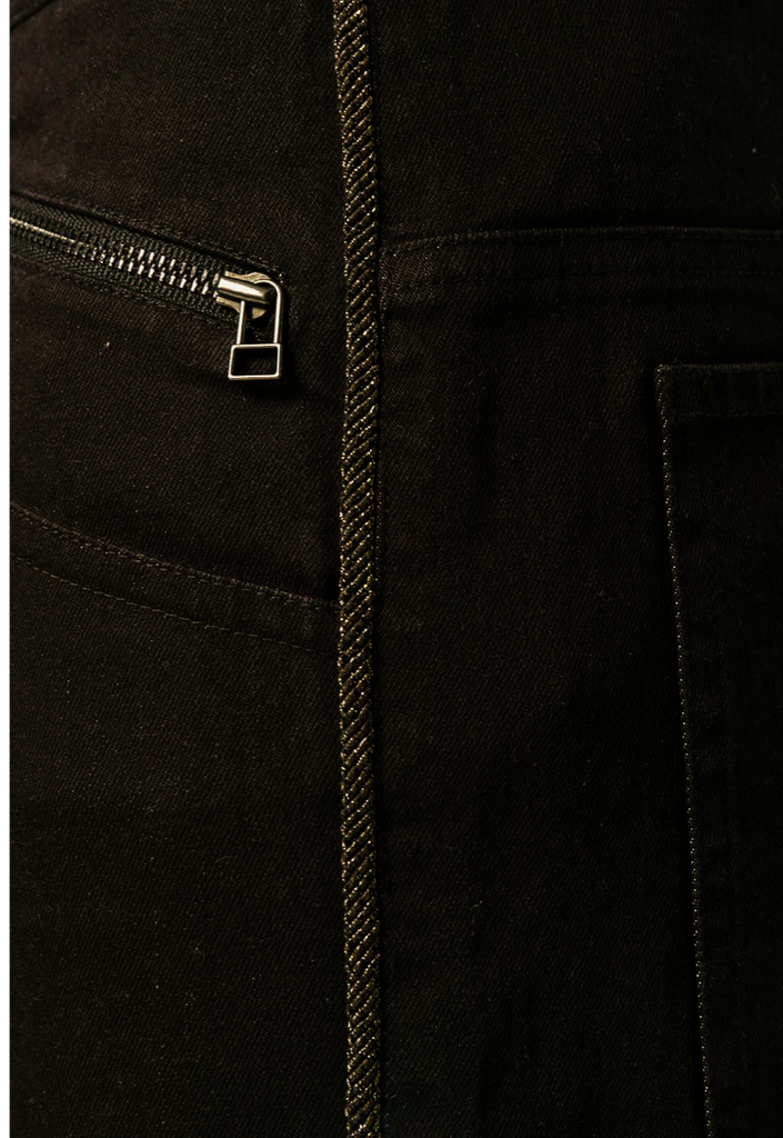 UNCONDITIONAL Black back-zip jeans with aged gold metallic piping.