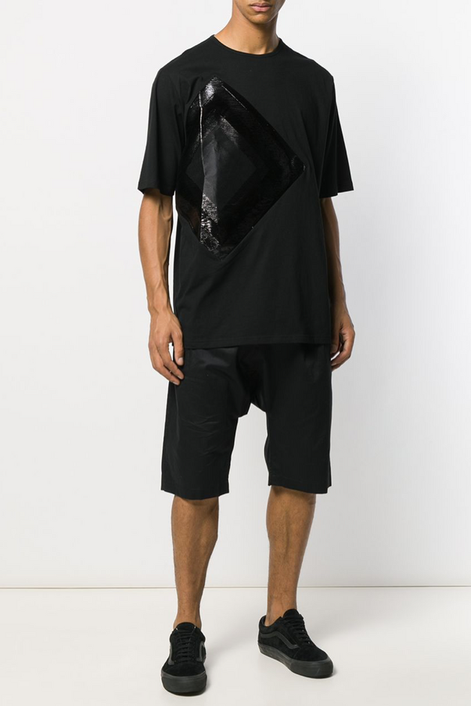 UNCONDITIONAL SS20 Black light cotton tailored drop crotch shorts.