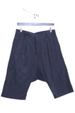 UNCONDITIONAL Dark Navy creased cotton metal drop crotch shorts.