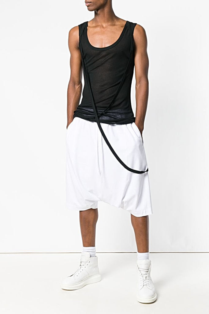 UNCONDITIONAL SS20 White drop crotch sarouel jersey shorts
