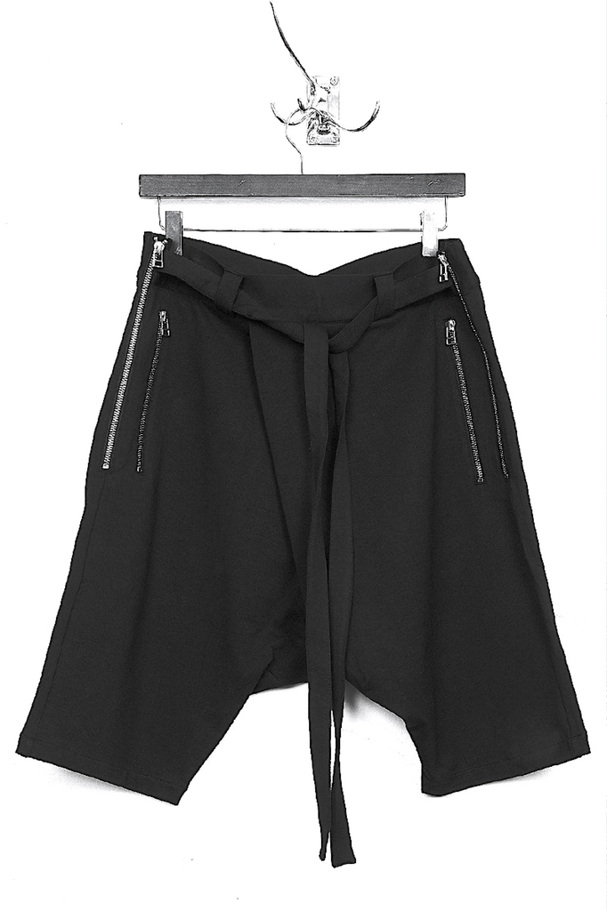 UNCONDITIONAL SS19 Black lightweight jersey double zip shorts with waist ties