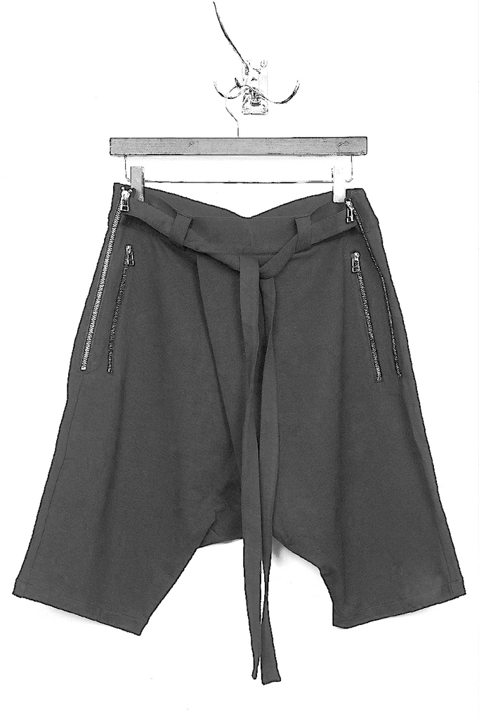 UNCONDITIONAL SS19 Grey lightweight jersey double zip shorts with waist ties
