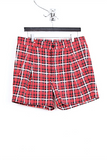 UNCONDITIONAL Red check light cotton shirting tailored shorts