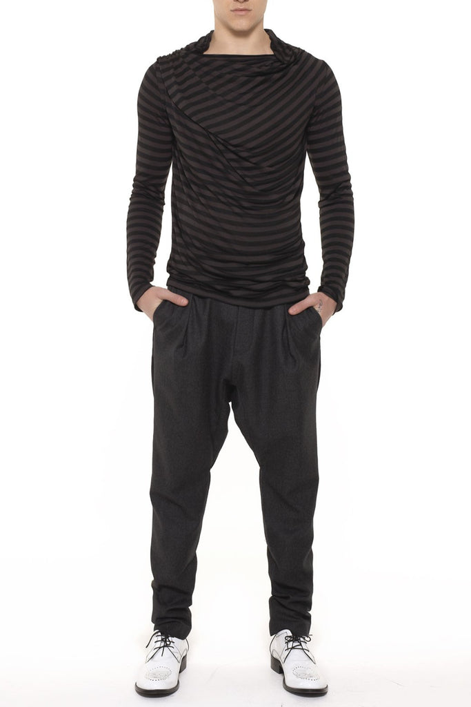 UNCONDITIONAL Charcoal grey wool flannel relaxed drop crotch trousers.