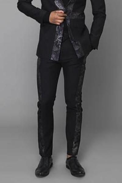 UNCONDITIONAL Black and Black metallic brocade side stripe trousers