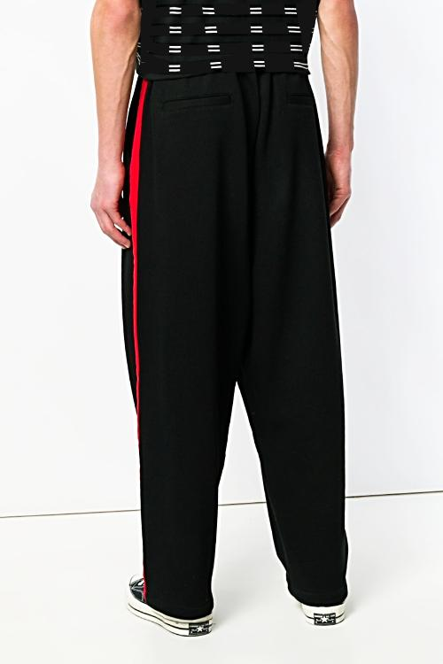UNCONDITIONAL AW19 Black | Red relaxed sweat tux trousers