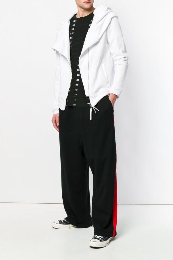 UNCONDITIONAL SS18- AW18 Black-Red relaxed wide tux trousers in soft cotton sweat