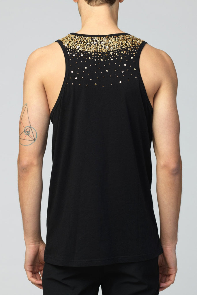UNCONDITIONAL black cotton vest with gold hand beading