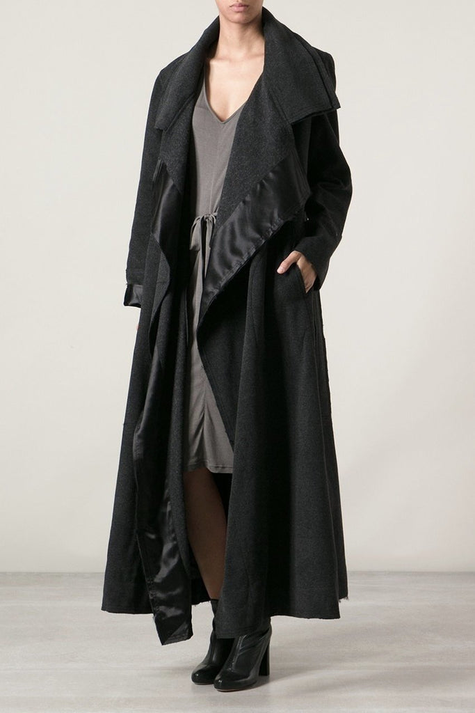 UNCONDITIONAL Black wool homeless coat with satin facings and raw edgings