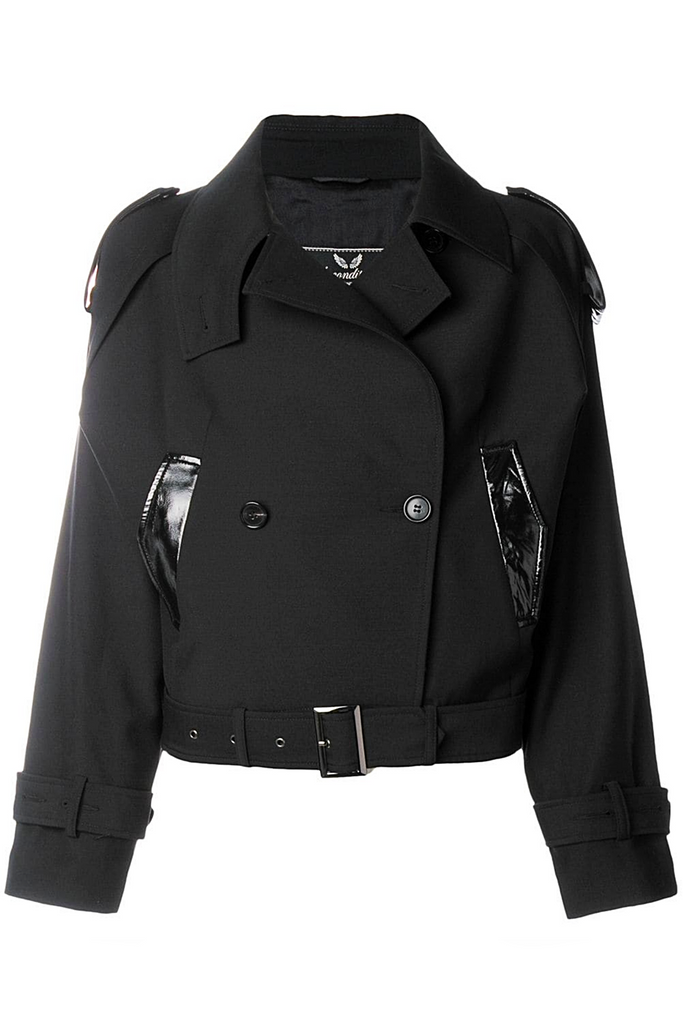 "UNCONDITIONAL SS19 Black abbreviated ""mac"" with epaulettes and leather detailing."