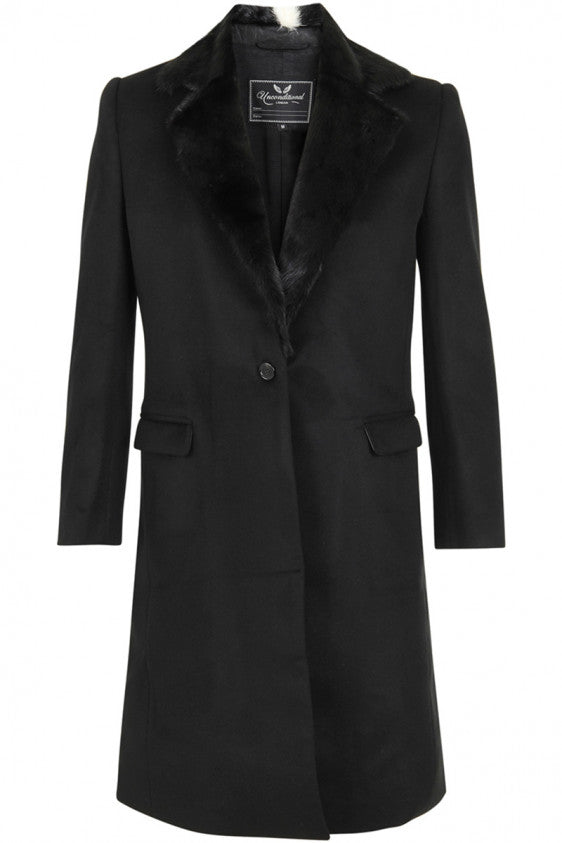 UNCONDITIONAL BLACK SINGLE BREASTED BF'S COAT WITH MINK COLLAR.