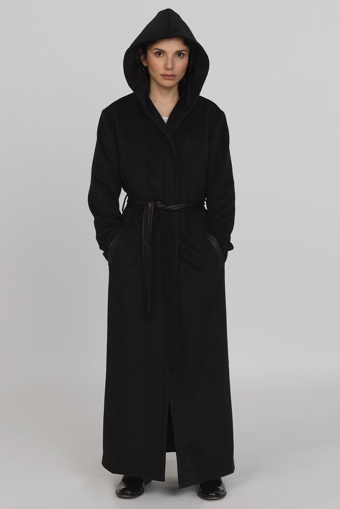 UNCONDITIONAL AW19 Black Monastic Hooded Wrap Maxi Coat