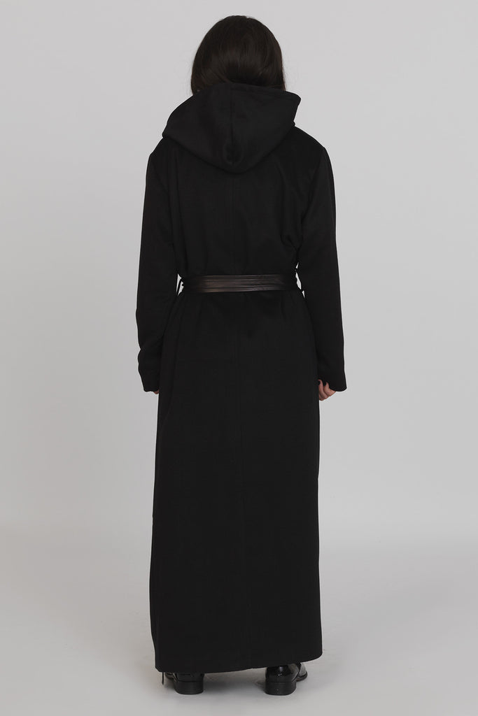 UNCONDITIONAL's AW16 Black Monastic Hooded Wrap Maxi Coat in softest wool mix