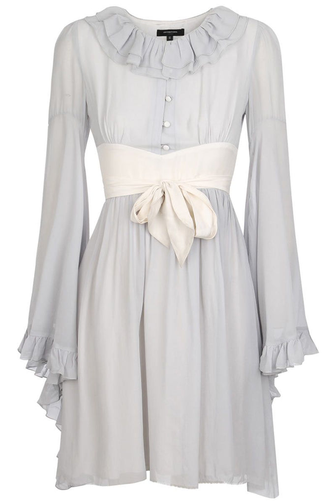 UNCONDITIONAL AW19 PRE silver / white angel sleeved pierrot collar dress