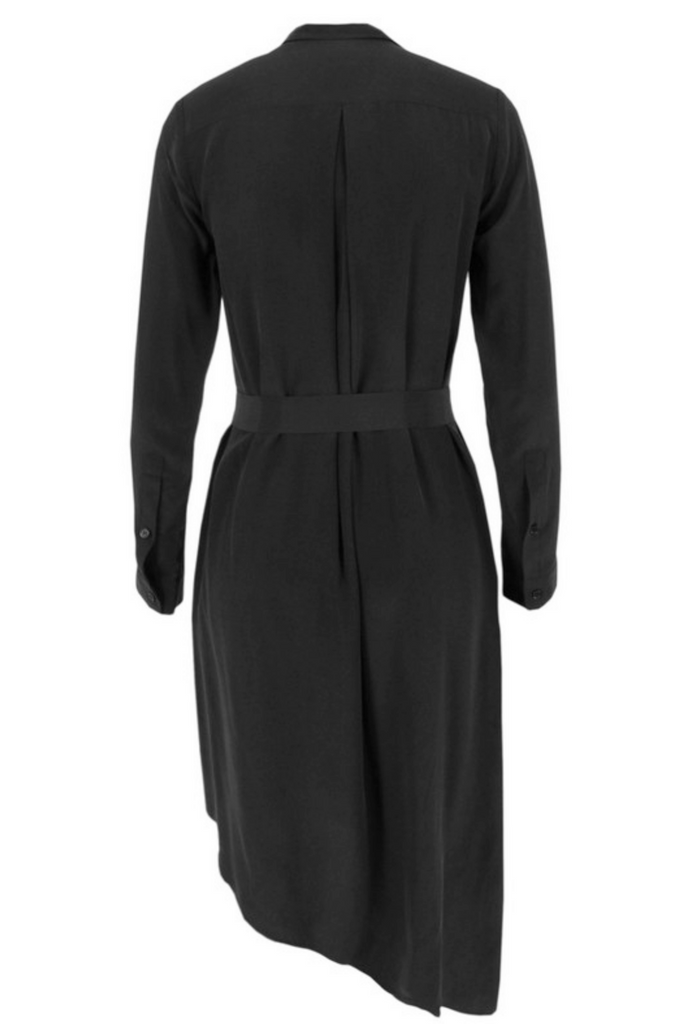 UNCONDITIONAL Black silk long sleeved pleat side asymmetric shirt dress