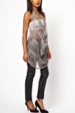 UNCONDITIONAL Monotone python print silk chiffon circle top.