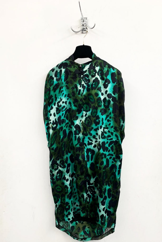 UNCONDITIONAL emerald Green leopard silk mix cocoon dress