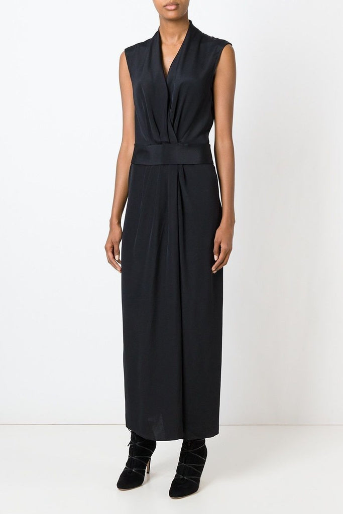 UNCONDITIONAL AW18 Black long heavy silk crepe kimono wrap dress
