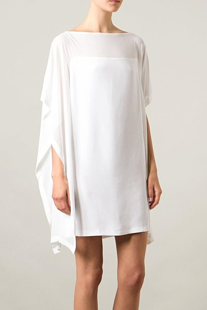 UNCONDITIONAL AW18 PRE OFF WHITE SILK CREPE | GEORGETTE BOX SHIFT DRESS