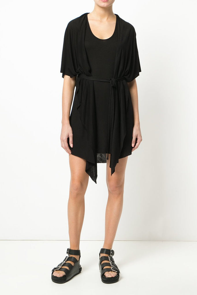 UNCONDITIONAL Black hooded cape drape waistcoat dress