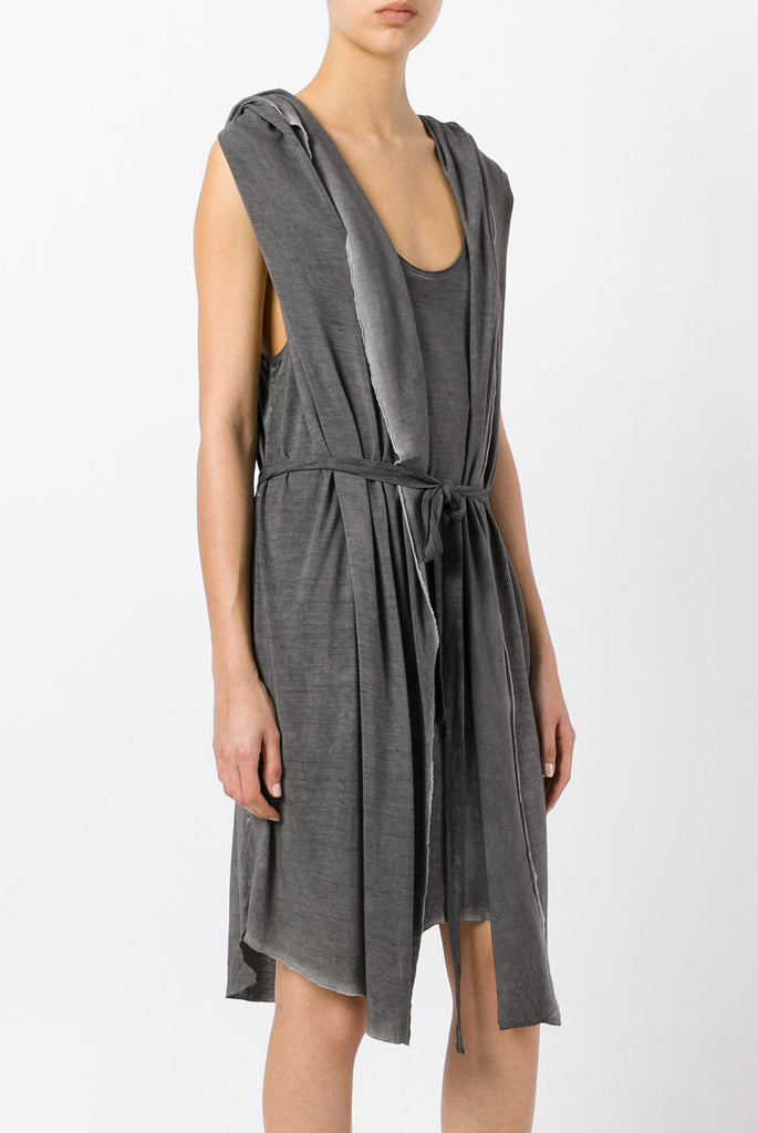 UNCONDITIONAL hooded cape drape hooded waistcoat dress : WD605