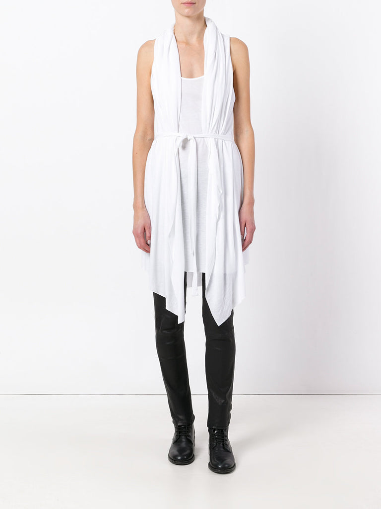 UNCONDITIONAL SS17 White hooded cape drape waistcoat dress