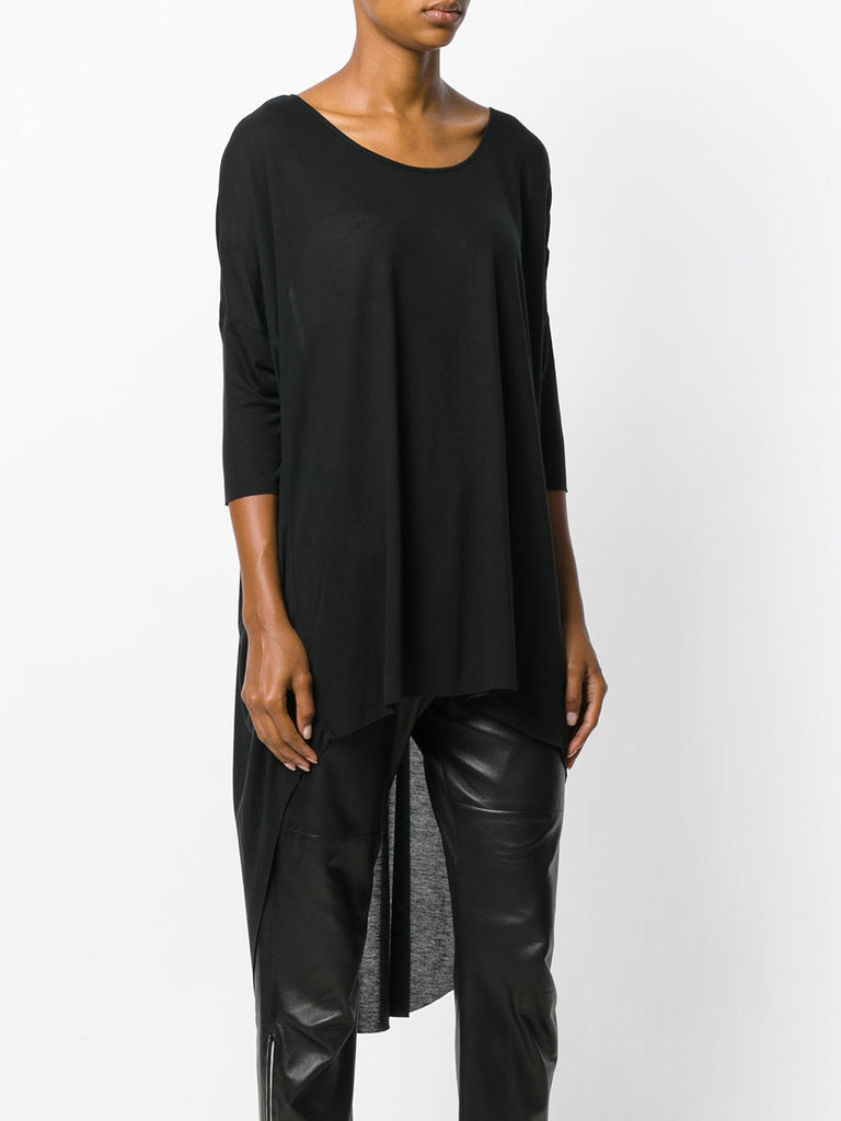 UNCONDITIONAL Black ladies fine tencel long tail tee.