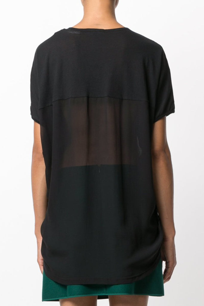 UNCONDITIONAL SS18 All Black tail tee with lower back and tail in silk chiffon