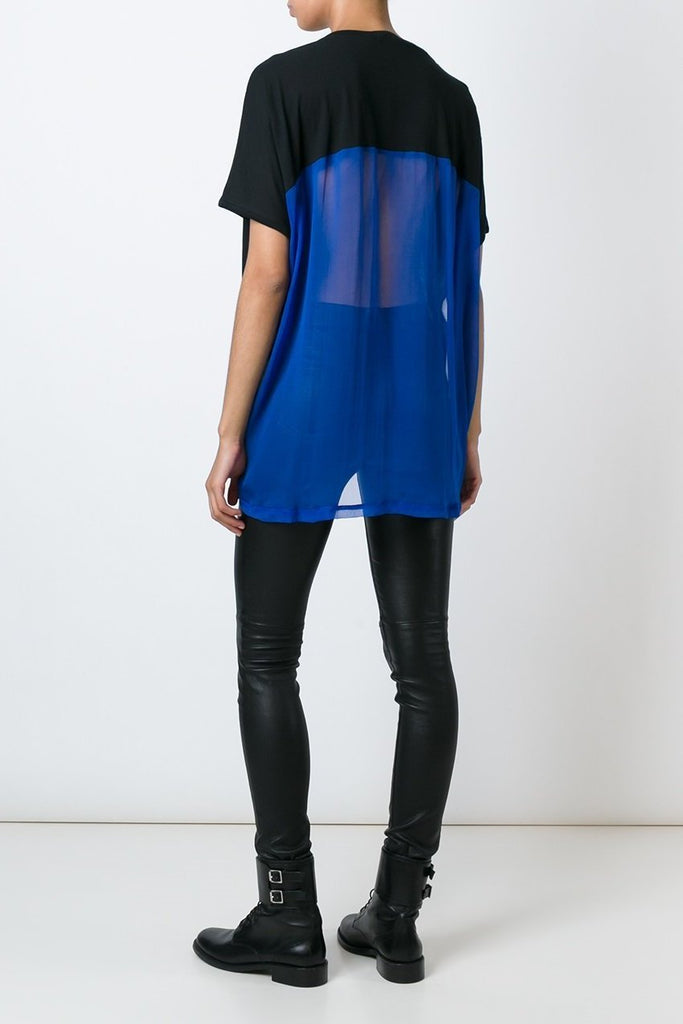 UNCONDITIONAL SS18 Black tail T with lower back in electric blue silk chiffon