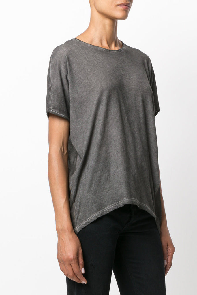 UNCONDITIONAL Military cold dye tail tee with lower back tail in silk chiffon
