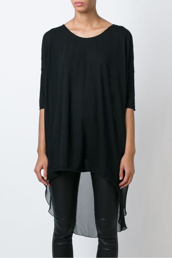 UNCONDITIONAL SS18 All Black silk chiffon back long tail T-shirt