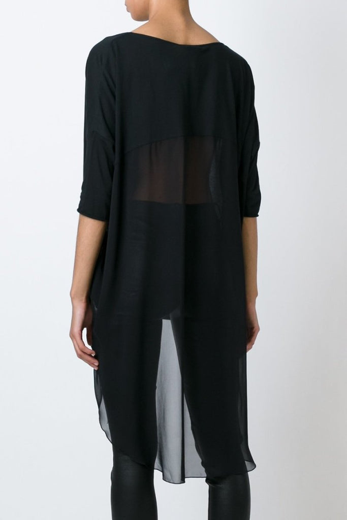 UNCONDITIONAL SS19 All Black silk chiffon back long tail T-shirt