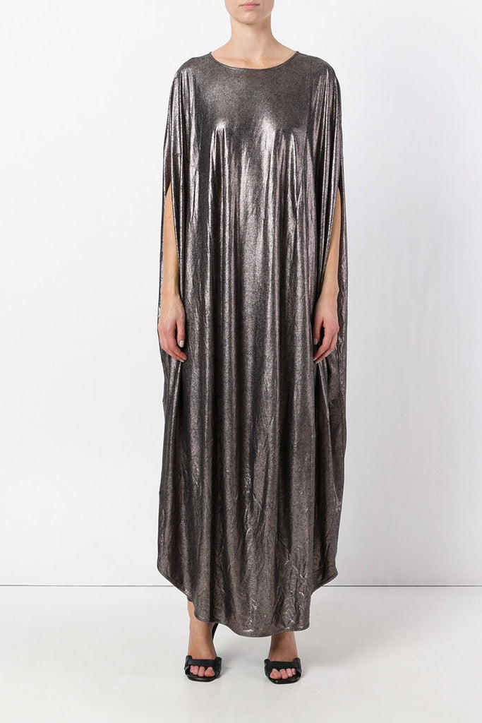 UNCONDITIONAL Bronze long cocoon tunic dress with inseam pockets.