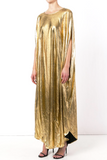 UNCONDITIONAL Gold cocoon maxi dress with inseam pockets.