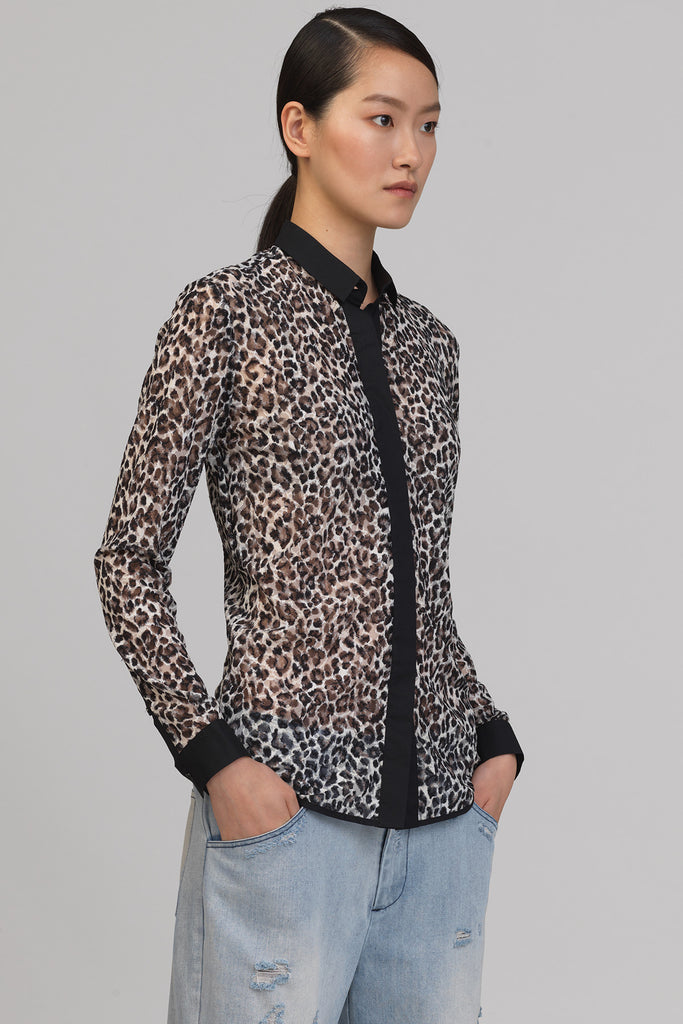 UNCONDITIONAL Ladies Leopard print mesh shirt with black detailing.