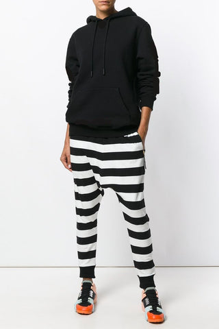 UNCONDITIONAL Navy and Off White striped drape pocket oversized t-shirt