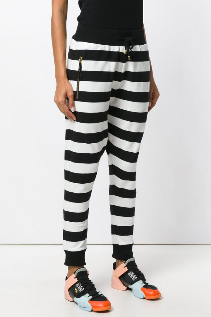 UNCONDITIONA Black | Off White horizontal striped harem track pants