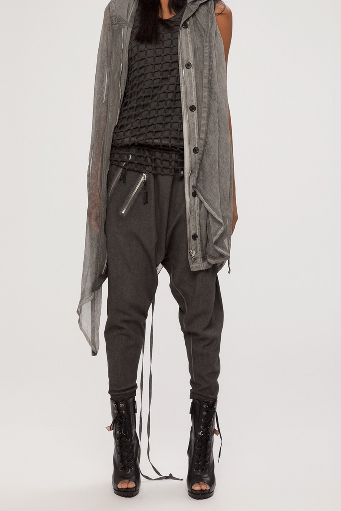 UNCONDITIONAL SS19 military cold dyed harem trousers with double zip pockets