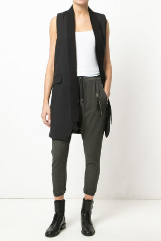 UNCONDITIONAL Silk crepe black and silver draped waistcoat layer