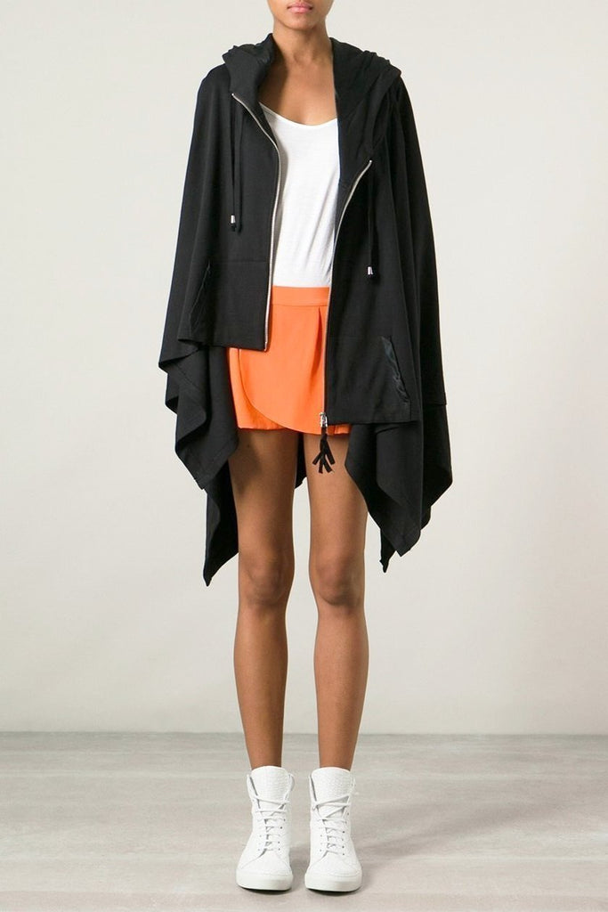 UNCONDITIONAL SS19 Black silk lined hooded zip-up poncho cape