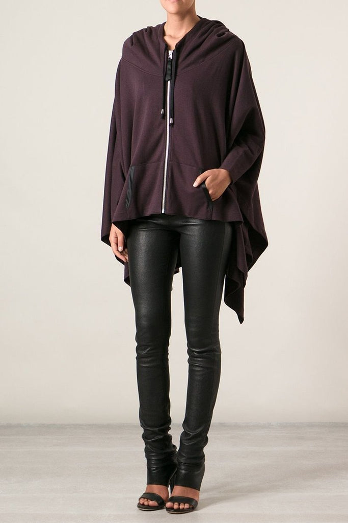 UNCONDITIONAL Grape hooded heavy jersey zip up poncho.