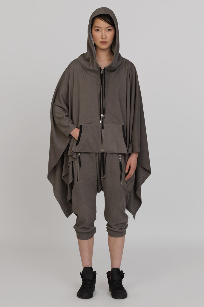 UNCONDITIONAL SS17 Military coldye hooded zip up poncho with silk lined hood.
