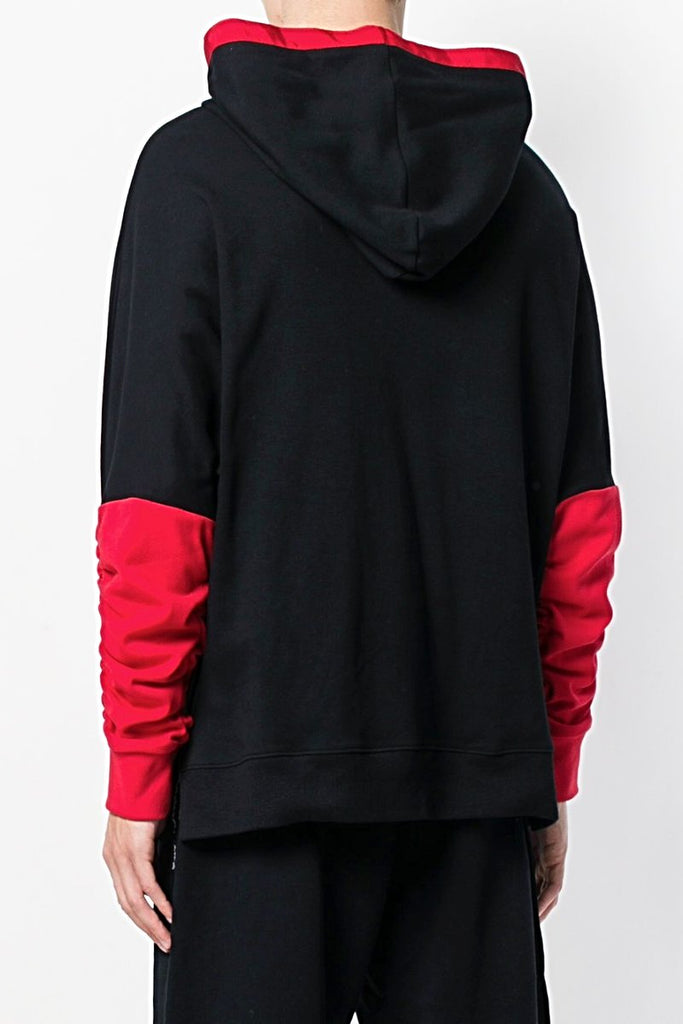 UNCONDITIONAL SS18 Black and Red rouched sleeve hoodie