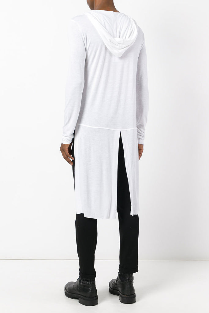 UNCONDITIONAL White elongated long sleeved hooded tail T-shirt