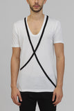 UNCONDITIONAL Signature Black scoop neck rayon T shirt with black bondage cross straps