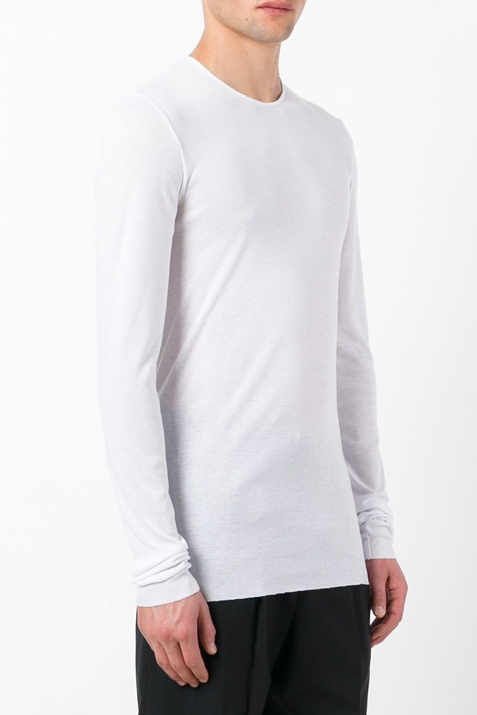 UNCONDITIONAL luxe long sleeved white grey high crew neck t-shirt with raw cut hem