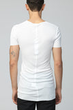 UNCONDITIONAL White fine ribbed rayon V-neck T-shirt.
