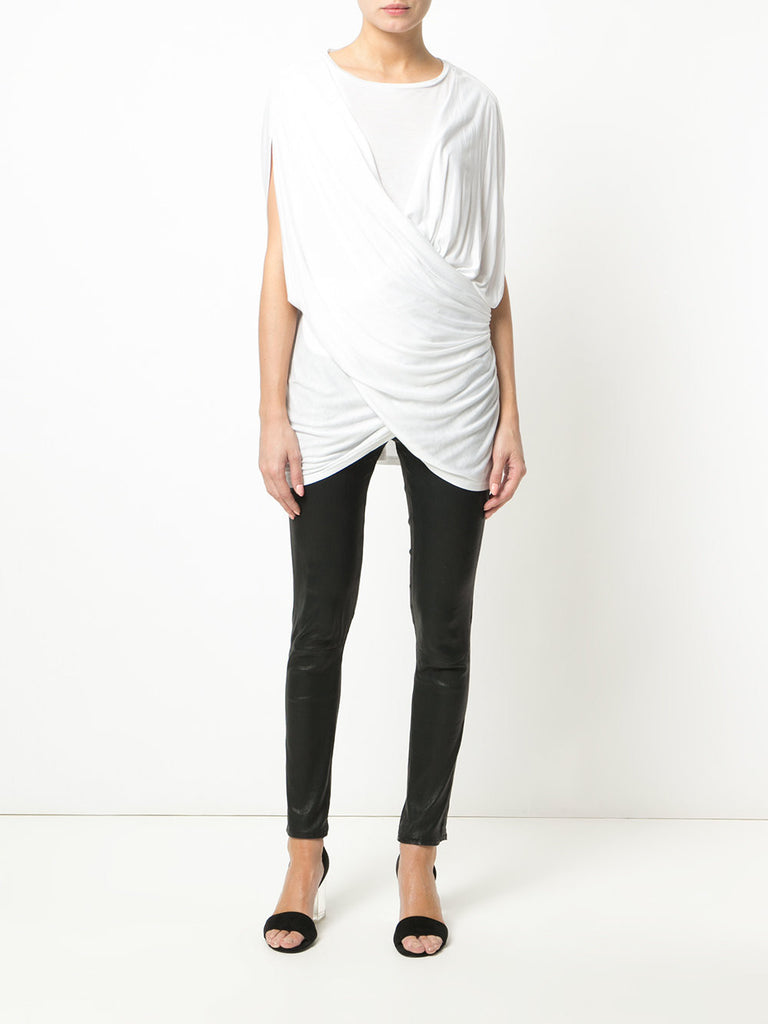 UNCONDITIONAL White sleevless crew neck cross drape top